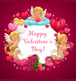 valentine day hearts love message and flowers vector image