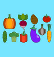 vegetables flat icons set colorful flat design vector image vector image