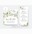 wedding floral save the date menu place card vector image vector image