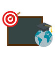 world planet graduation with chalkboard vector image