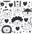 seamless pattern with head animals vector image