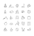 Thin line yoga icons set health life vector image
