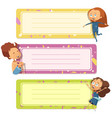 notebook covers design with funny kids vector image