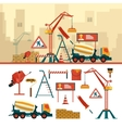 set of construction site objects and tools vector image