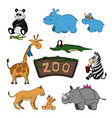 animals of zoo set of cute images vector image vector image