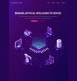 artificial intelligence isometric landing page ai vector image