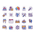 birthday items color linear icons set vector image vector image