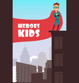 boy superhero with red cloak over the city vector image vector image