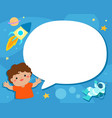 Boy with speech bubble universe background