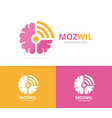 brain and wifi logo combination education vector image vector image