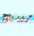businesspeople in masks working and talking vector image vector image