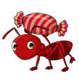 cartoon ants carry candy vector image