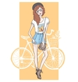Cute Hipster Fashion Girl vector image vector image