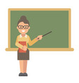 female teacher with a book and a pointer near a vector image