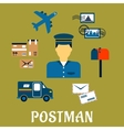 Flat postal icons around a Postman vector image vector image