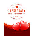 happy valentines day greeting card design and two vector image