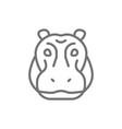 hippo glyph river-horse hippopotamus line icon vector image vector image
