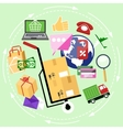 Internet shopping process delivery vector image vector image