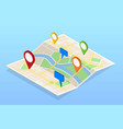 isometric city navigation map with pins or gps map vector image vector image