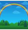 landscape rainbow and forest vector image vector image