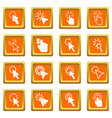 mouse pointer icons set orange vector image vector image