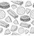 pancakes - monochrome graphic sketch seamless vector image