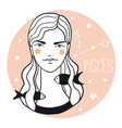 pisces girl sketch style woman with zodiac sign vector image