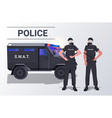police officers in tactical gear riot policemen vector image vector image