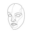 pretty woman feminine face single continuous line vector image vector image