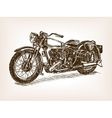 Retro motorcycle hand drawn sketch vector image