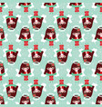 seamless pattern pretty christmas angel vector image vector image