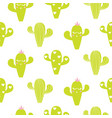 seamless pattern with cactus fun print vector image vector image