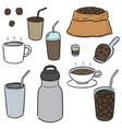 set coffee vector image vector image