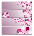 set horizontal banners with sakura flower vector image vector image