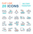 set line icons military transport vector image