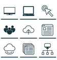 set of 9 web icons includes display virtual vector image