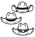 set of cowboy hats isolated on white background vector image vector image