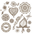 set of ornaments in indian style vector image vector image