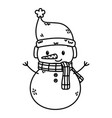 snowman with hat and scarf celebration merry vector image vector image