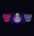 soccer cup logo neon design template vector image vector image