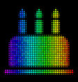 spectral colored dot birthday cake icon vector image
