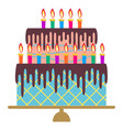 sweet birthday cake with fifteen burning candles vector image vector image