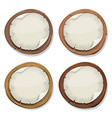 torn paper signs on wood circles vector image vector image