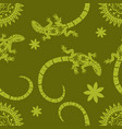tropical background flowers sun and lizards vector image