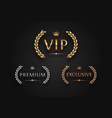 vip premium and exclusive sign with laurel wreath vector image vector image