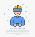 vr headset and male vector image vector image