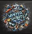 winter sport time hand drawn cartoon doodles vector image vector image
