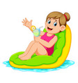 woman relaxing on inflatable mattress vector image