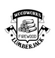 woodworks label with firewood and axe emblem vector image