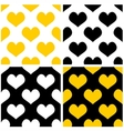 Yellow black and white hearts background set vector image vector image